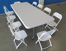 Great Our Tables And Chairs Are Light Weight, Polypropylene Plastic And White In  Color